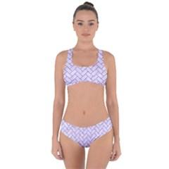 Brick2 White Marble & Purple Glitter (r) Criss Cross Bikini Set