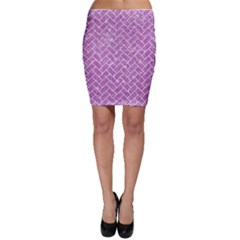 Brick2 White Marble & Purple Glitter Bodycon Skirt