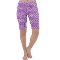 Brick2 White Marble & Purple Glitter Cropped Leggings