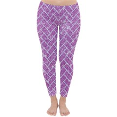 Brick2 White Marble & Purple Glitter Classic Winter Leggings