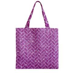 Brick2 White Marble & Purple Glitter Zipper Grocery Tote Bag