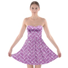 Brick2 White Marble & Purple Glitter Strapless Bra Top Dress