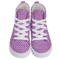Brick2 White Marble & Purple Glitter Kid s Hi Top Skate Sneakers