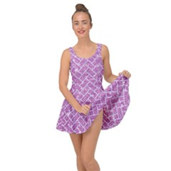Brick2 White Marble & Purple Glitter Inside Out Dress