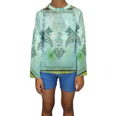 Music, Decorative Clef With Floral Elements Kids  Long Sleeve Swimwear