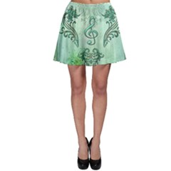 Music, Decorative Clef With Floral Elements Skater Skirt