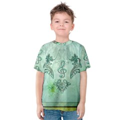Music, Decorative Clef With Floral Elements Kids  Cotton Tee