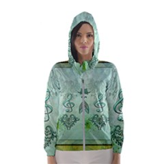 Music, Decorative Clef With Floral Elements Hooded Wind Breaker (women)