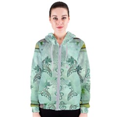 Music, Decorative Clef With Floral Elements Women s Zipper Hoodie