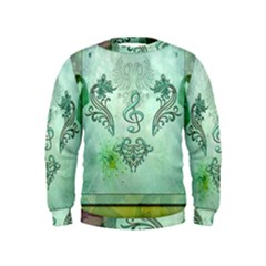 Music, Decorative Clef With Floral Elements Kids  Sweatshirt