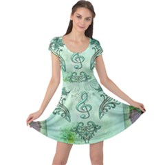 Music, Decorative Clef With Floral Elements Cap Sleeve Dress