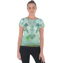 Music, Decorative Clef With Floral Elements Short Sleeve Sports Top