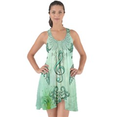 Music, Decorative Clef With Floral Elements Show Some Back Chiffon Dress