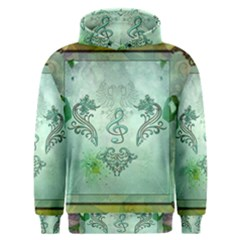 Music, Decorative Clef With Floral Elements Men s Overhead Hoodie