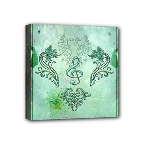 Music, Decorative Clef With Floral Elements Mini Canvas 4  X 4  by FantasyWorld7