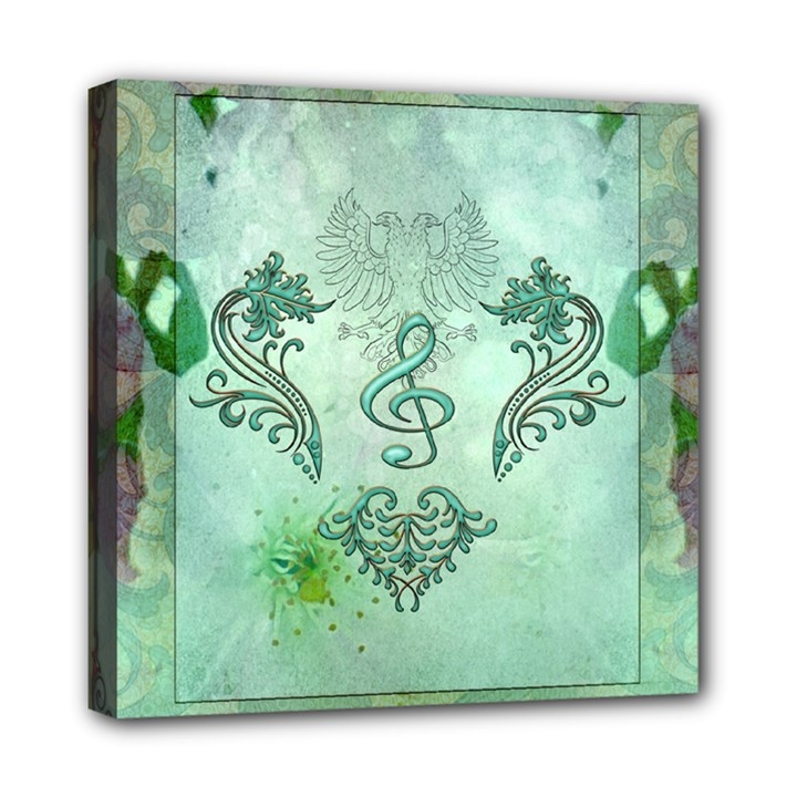 Music, Decorative Clef With Floral Elements Mini Canvas 8  x 8