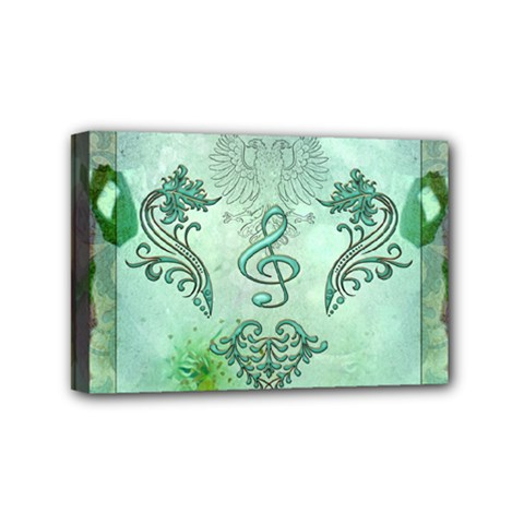 Music, Decorative Clef With Floral Elements Mini Canvas 6  X 4  by FantasyWorld7
