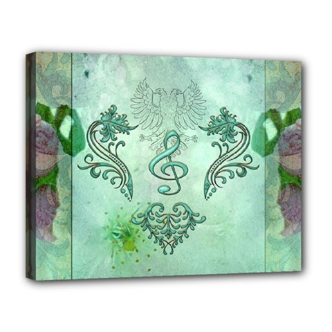 Music, Decorative Clef With Floral Elements Canvas 14  X 11  by FantasyWorld7