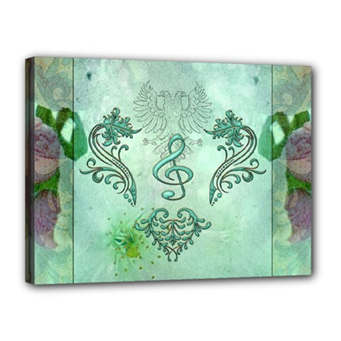 Music, Decorative Clef With Floral Elements Canvas 16  X 12