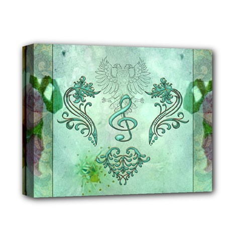 Music, Decorative Clef With Floral Elements Deluxe Canvas 14  X 11  by FantasyWorld7
