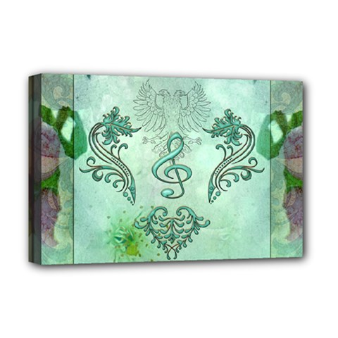 Music, Decorative Clef With Floral Elements Deluxe Canvas 18  X 12   by FantasyWorld7