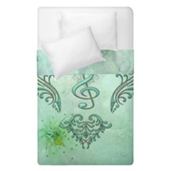 Music, Decorative Clef With Floral Elements Duvet Cover Double Side (single Size)