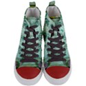 Music, Decorative Clef With Floral Elements Women s Mid-Top Canvas Sneakers View1