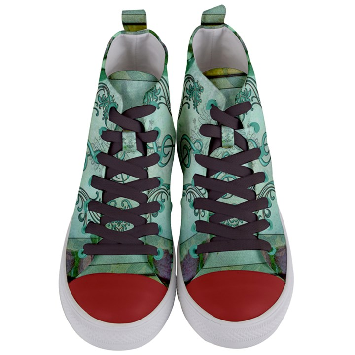 Music, Decorative Clef With Floral Elements Women s Mid-Top Canvas Sneakers