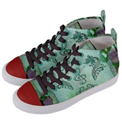 Music, Decorative Clef With Floral Elements Women s Mid Top Canvas Sneakers by FantasyWorld7