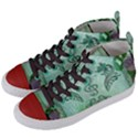 Music, Decorative Clef With Floral Elements Women s Mid-Top Canvas Sneakers View2