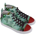 Music, Decorative Clef With Floral Elements Women s Mid-Top Canvas Sneakers View3