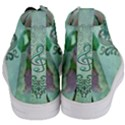 Music, Decorative Clef With Floral Elements Women s Mid-Top Canvas Sneakers View4