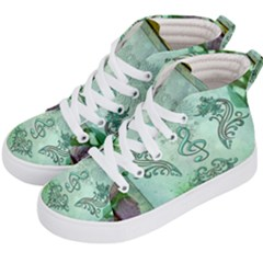 Music, Decorative Clef With Floral Elements Kid s Hi Top Skate Sneakers by FantasyWorld7