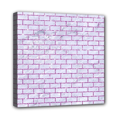 Brick1 White Marble & Purple Glitter (r) Multi Function Bag