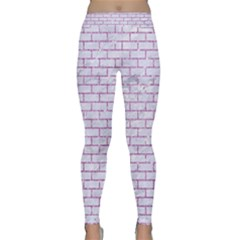 Brick1 White Marble & Purple Glitter (r) Classic Yoga Leggings