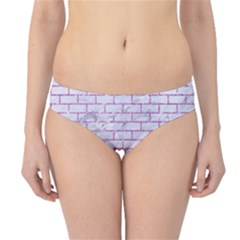 Brick1 White Marble & Purple Glitter (r) Hipster Bikini Bottoms