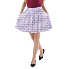 Brick1 White Marble & Purple Glitter (r) A Line Pocket Skirt