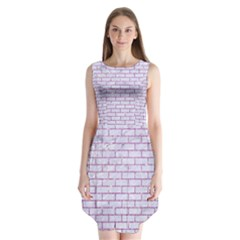 Brick1 White Marble & Purple Glitter (r) Sleeveless Chiffon Dress