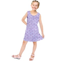 Brick1 White Marble & Purple Glitter (r) Kids  Tunic Dress