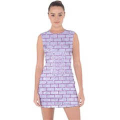 Brick1 White Marble & Purple Glitter (r) Lace Up Front Bodycon Dress
