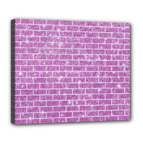 Brick1 White Marble & Purple Glitter Deluxe Canvas 24  X 20