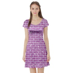 Brick1 White Marble & Purple Glitter Short Sleeve Skater Dress