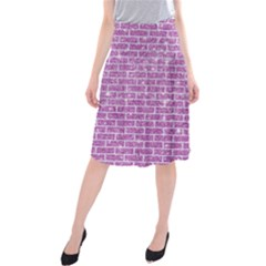 Brick1 White Marble & Purple Glitter Midi Beach Skirt