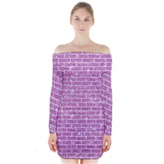 Brick1 White Marble & Purple Glitter Long Sleeve Off Shoulder Dress