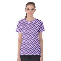 Woven2 White Marble & Purple Denim (r) Women s Cotton Tee