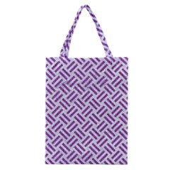 Woven2 White Marble & Purple Denim (r) Classic Tote Bag