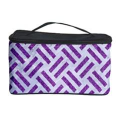 Woven2 White Marble & Purple Denim (r) Cosmetic Storage Case