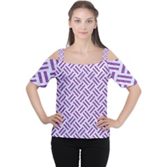 Woven2 White Marble & Purple Denim (r) Cutout Shoulder Tee by trendistuff