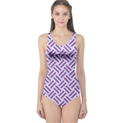 Woven2 White Marble & Purple Denim (r) One Piece Swimsuit