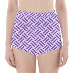 Woven2 White Marble & Purple Denim (r) High Waisted Bikini Bottoms